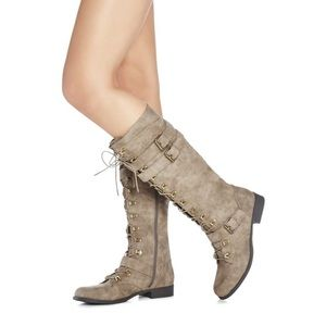 Just fab Karyn taupe knee high combat boot